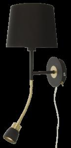 Aneta Belysning Wandlamp Eketorp - Zwart/Messing