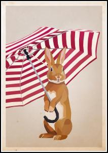 Bildverkstad Rabbit with Umbrella Poster