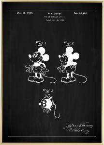 Bildverkstad Patenttekening - Disney - Mickey Mouse - Zwart Poster