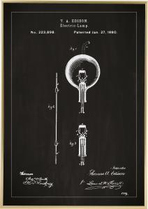 Bildverkstad Patenttekening - Gloeilamp B - Zwart Poster