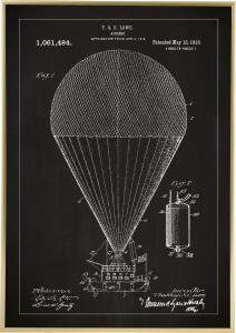 Bildverkstad Patenttekening - Luchtschip - Zwart Poster