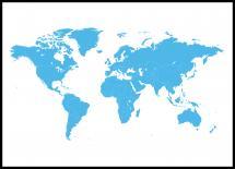 Bildverkstad Wereldkaart Blauw Poster
