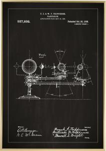 Bildverkstad Patenttekening - Planetarium - Zwart Poster