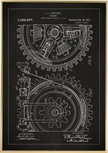 Bildverkstad Patenttekening - Tandwiel - Zwart Poster