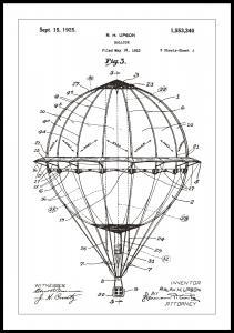 Bildverkstad Patenttekening - Luchtballon - Wit Poster