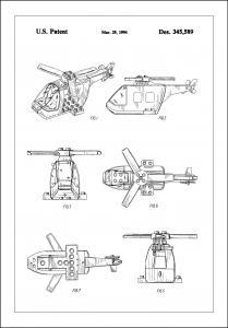 Bildverkstad Patent Print - Lego Helicopter - White Poster