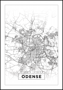 Bildverkstad Map - Odense - White Poster