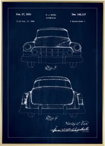 Bildverkstad Patenttekening - Cadillac II - Blauw Poster