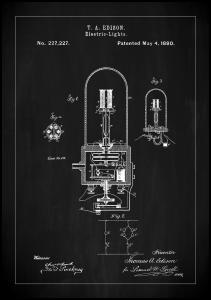 Bildverkstad Patent Print - Edison Light - Black Poster