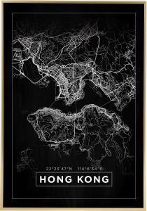 Bildverkstad Map - Hong Kong - Black Poster