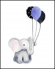 Bildverkstad Elephant With Balloons Poster