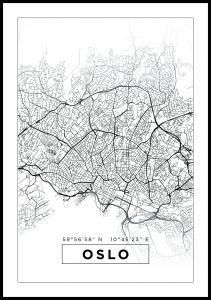 Lagervaror egen produktion Map - Oslo - White Poster