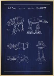 Bildverkstad Patenttekening - Star Wars - Walker - Blauw Poster