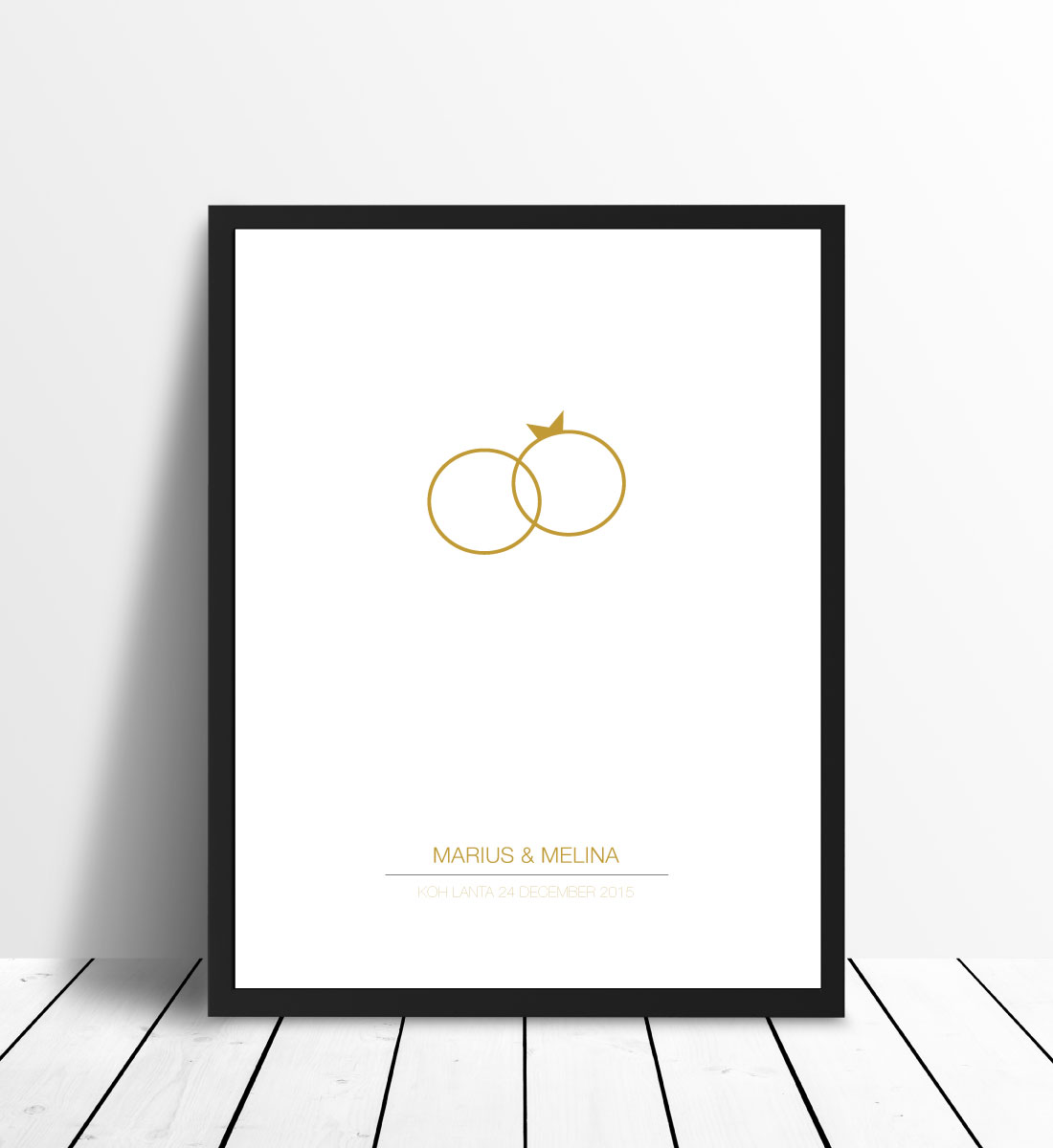 Personlig poster Wedding Ring - Gold
